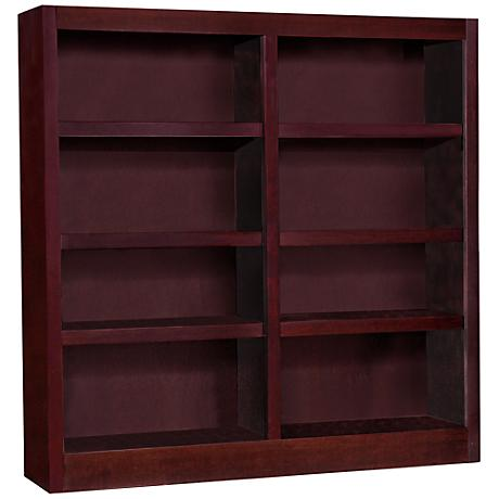 Grundy Cherry Double-Wide 8-Shelf Bookcase