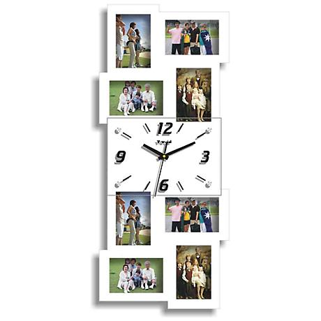 """Belington White 25 3/4"""" High Clock and Photo Frame Collage"""