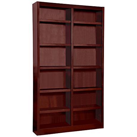 Grundy Cherry Double-Wide 12-Shelf Bookcase