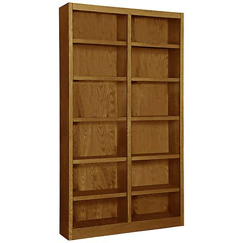 Grundy Dry Oak Double-Wide 12-Shelf Bookcase