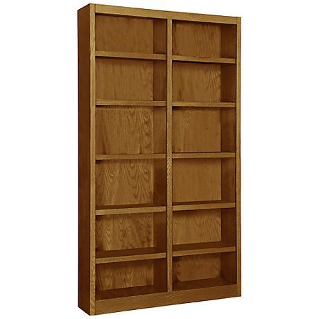 Grundy Dry Oak Double-Wide 12-Shelf Bookcase