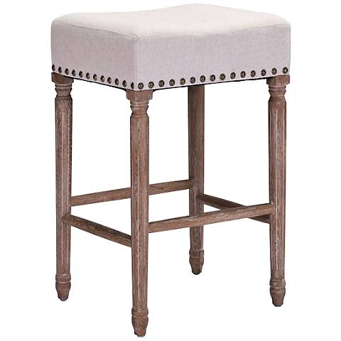 Zuo Anaheim Beige Fabric Square Counter Stool
