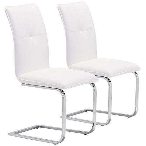 Zuo Anjou Modern White Dining Chair Set of 2