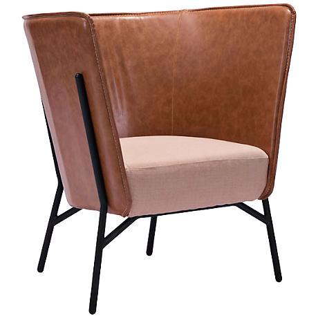 Zuo Assange Coffee Faux Leather Occasional Chair