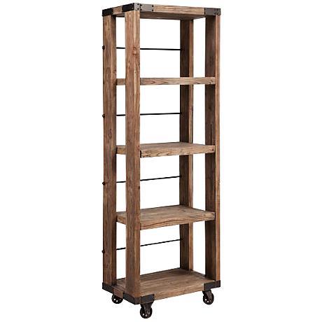 Zuo Kirkwood Distressed Wood Wheeled 4-Shelf Unit