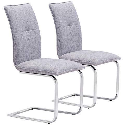 Zuo Anjou Modern Gray Dining Chair Set of 2