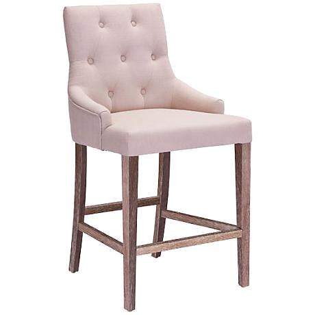"Zuo Burbank Oak 30"" Tufted-Back Beige Linen Bar Chair"