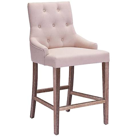 """Zuo Burbank 24"""" Button-Tufted Beige Fabric Counter Chair"""