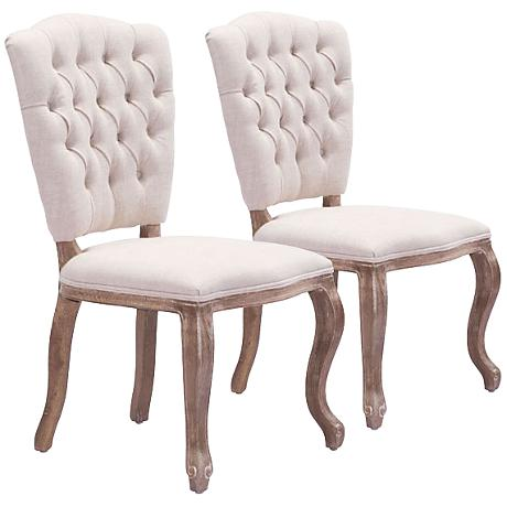 Zuo Eddy Beige Tufted Dining Chair Set of 2