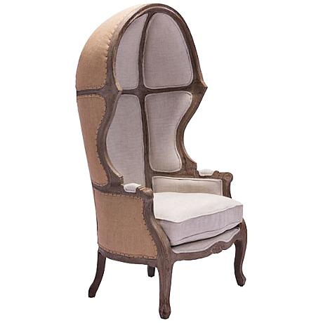 Zuo Ellis Tall Beige Fabric Occasional Chair