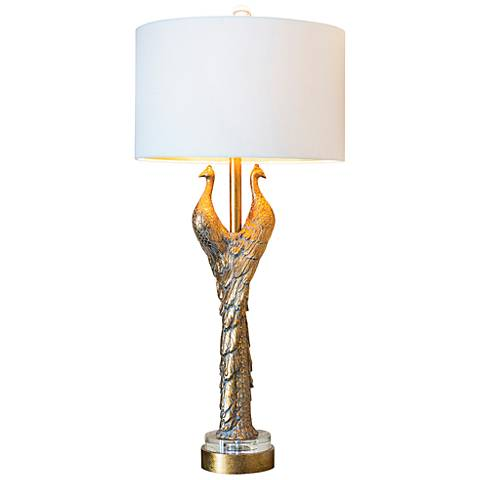 Couture Golden Peacock Table Lamp