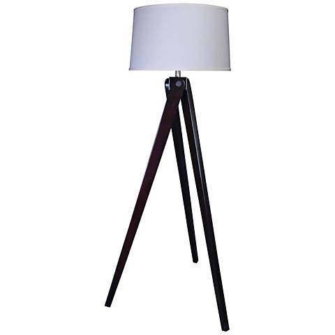 Max Espresso Wood Tripod Floor Lamp