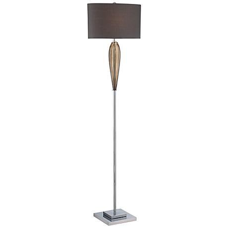 Lite Source Ofra Smoked Glass Floor Lamp