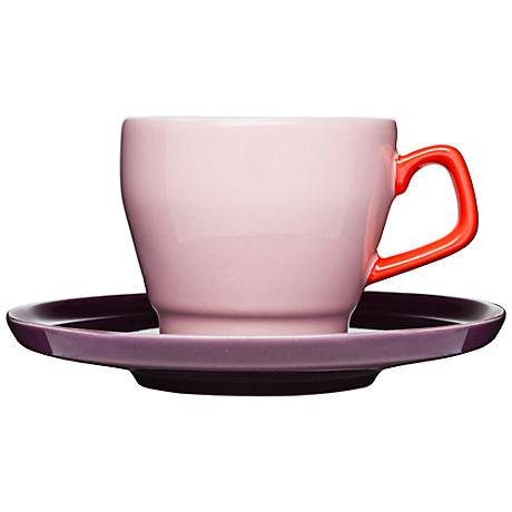 POP Pink, Red and Purple Stoneware Cup with Saucer