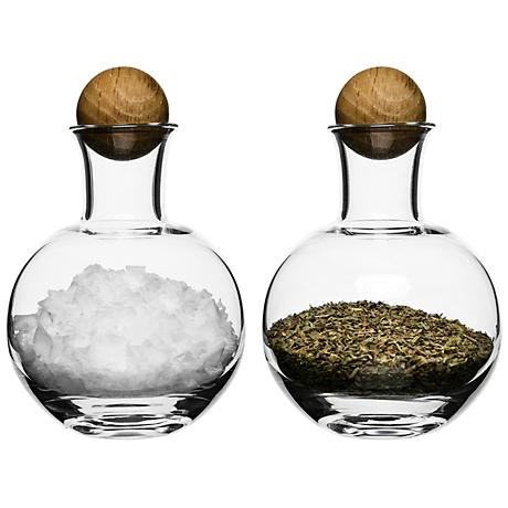 Spice and Herb Glass Bottles with Oak Stoppers Set of 2