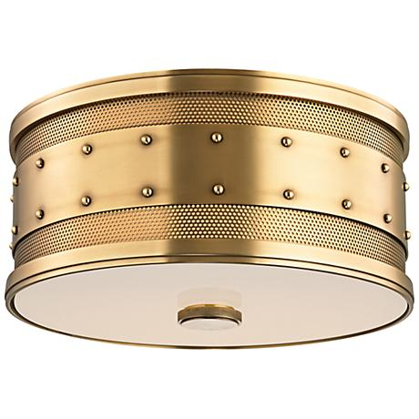"""Hudson Valley Gaines 12"""" Wide Aged Brass Ceiling Light"""