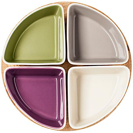 Small Stoneware Taste Serving Set with Bamboo Tray