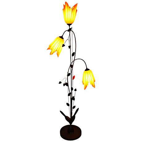 Flora 3-Light Floor Lamp with Hand-Crafted Nacarat Shades