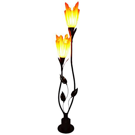 Flora 2-Light Floor Lamp with Hand-Crafted Nacarat Shades