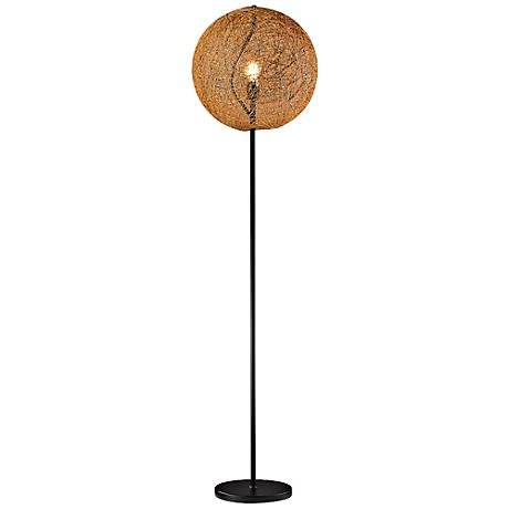 Cany Floor Lamp with Hand-Crafted Vine Shade Amber