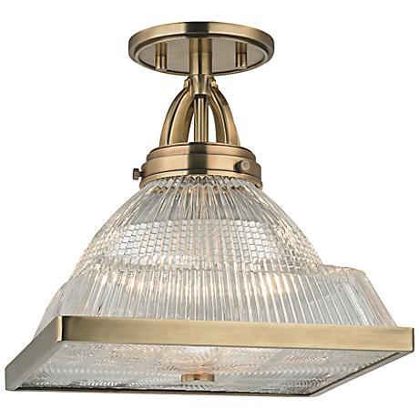 "Harriman 11 1/4"" Wide Aged Brass Ceiling Light"