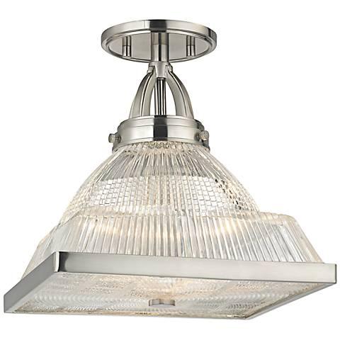 """Harriman 11 1/4"""" Wide Satin Nickel Ceiling Light"""