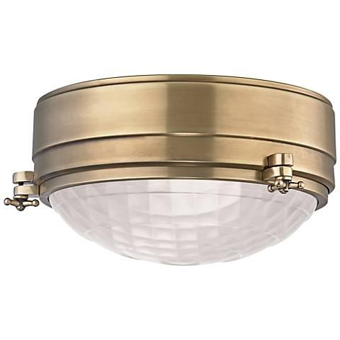 "Hudson Valley Belmont 9"" Wide Aged Brass Ceiling Light"