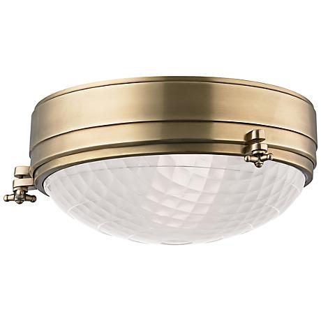 "Hudson Valley Belmont 13"" Wide Aged Brass Ceiling Light"