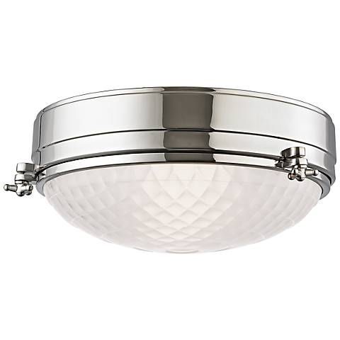 "Hudson Valley Belmont 13""W Polished Nickel Ceiling Light"