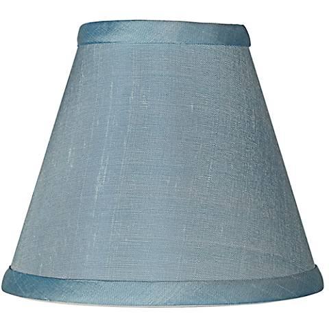 Powder Blue Dupioni Silk Lamp Shade 3x6x5 (Clip-On)