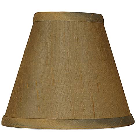 Khaki Brown Dupioni Silk Lamp Shade 3x6x5 (Clip-On)