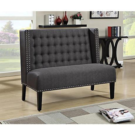 Banquette Charcoal Linen Upholstered Tufted Settee