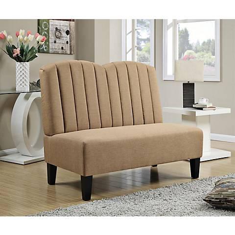 Banquette Honey Linen Upholstered Settee