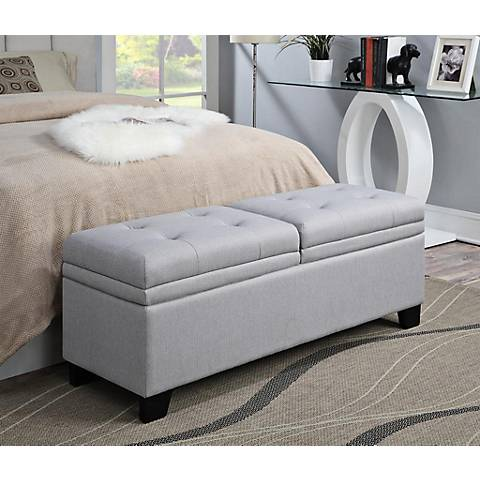 Hollie Marmor Linen Upholstered Storage Bench