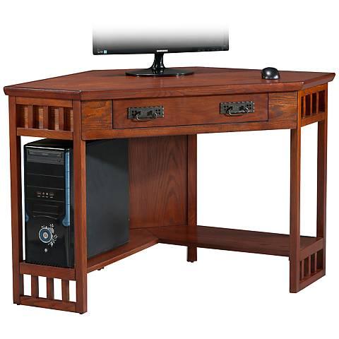 Leick Aldrich Mission Oak Corner Computer Desk