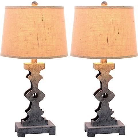 Lancette Dark Pewter Table Lamp Set of 2
