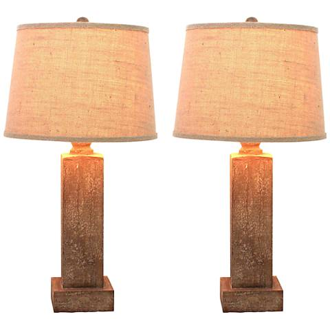 Urbanwood Antique Natural Table Lamp Set of 2