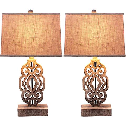 Delana Distressed Brass Table Lamp Set of 2