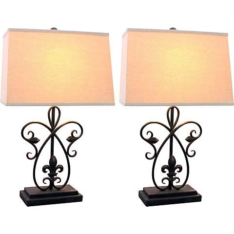Jardina Black Bronze Table Lamp Set of 2