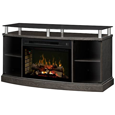 Windham Glass Front Log Set Media Console Fireplace