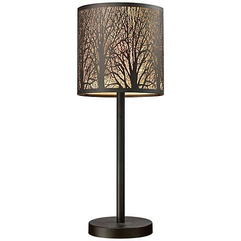 "Dimond 20"" high Woodland Sunrise Bronze Accent Table Lamp"