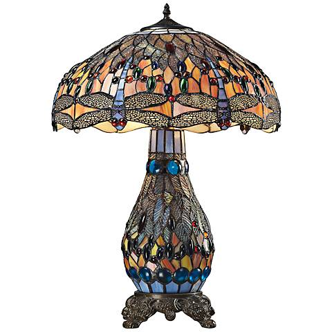 Dimond Dragonfly Bronze Tiffany Blue Glass Table Lamp