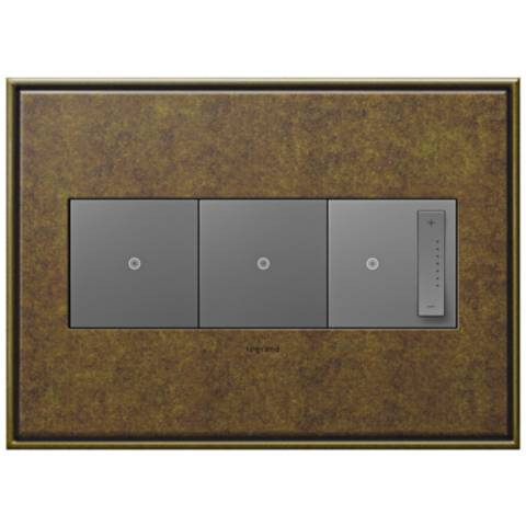 aged brass 3 gang cast metal wall plate w 2 switches and dimmer 7r183 7r085 6n310 lamps plus. Black Bedroom Furniture Sets. Home Design Ideas