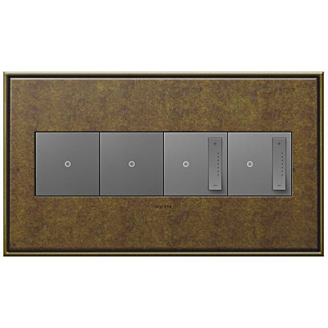 Aged Brass 4-Gang Metal Wall Plate with 2 Switches and 2 Dimmers