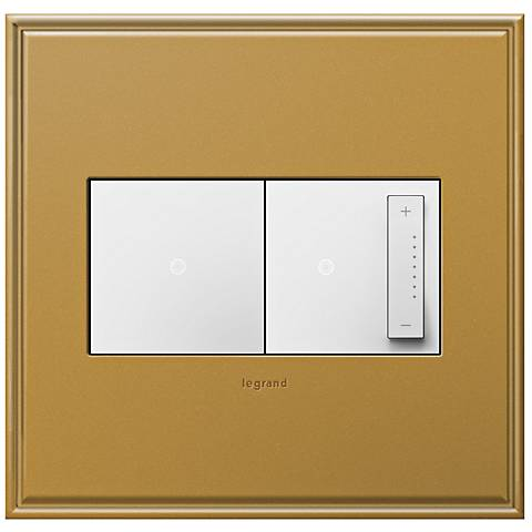 antique bronze 2 gang cast metal wall plate w switch and dimmer 7r187 6n307 6m154 lamps plus. Black Bedroom Furniture Sets. Home Design Ideas