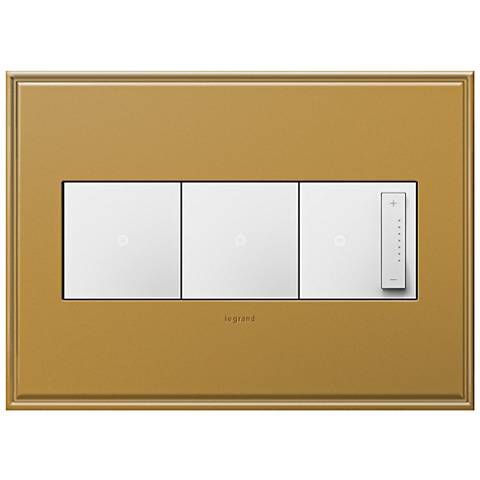 antique bronze 3 gang metal wall plate w 2 switches and dimmer 7r190 6n30. Black Bedroom Furniture Sets. Home Design Ideas