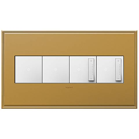 Antique Bronze 4-Gang Wall Plate with 2 Switches and 2 Dimmers