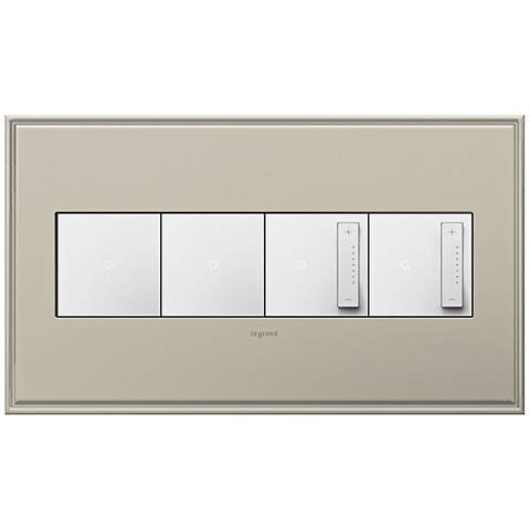 Antique Nickel 4-Gang Wall Plate w/ 2 Switches and 2 Dimmers