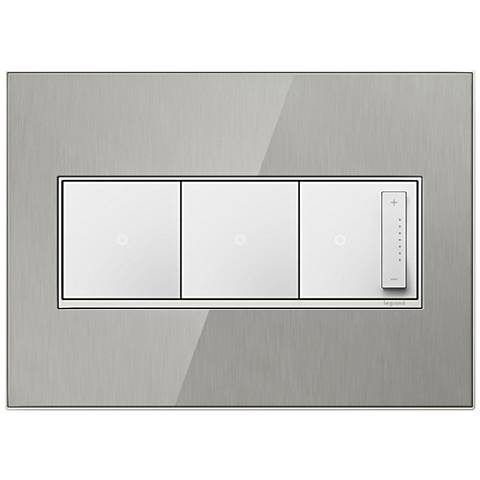 Stainless Steel 3-Gang Wall Plate w/ 2 Switches and Dimmer