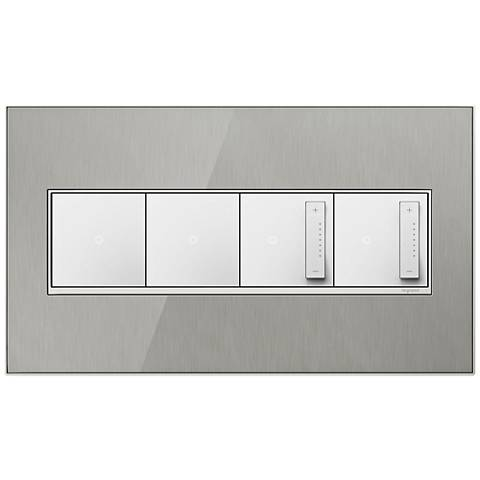 Stainless Steel 4-Gang Wall Plate w/ 2 Switches and 2 Dimmers